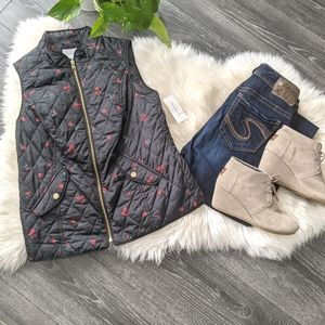 CHARTER CLUB - NWT Black/Rose Quilted Vest